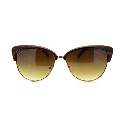 Womens Bolded Eye Brow Cat Eye Half Rim Clubmaster Sunglasses - Sunglasses Eye Cat Clubmaster