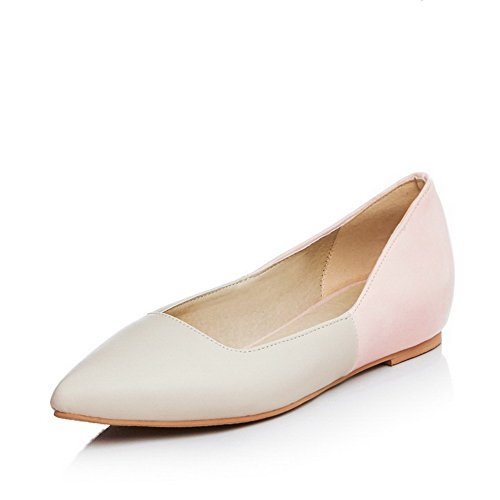 VogueZone009 Women's Pu Low Heels Pointed Closed Toe Assorted Color Pull On Pumps-Shoes Pink