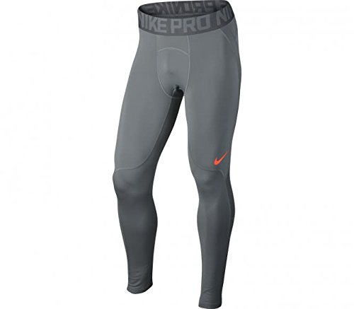 NIKE Training Pro Hyperwarm Tights (Cool Grey/Hyper Crimson/Hyper Crimson, S)