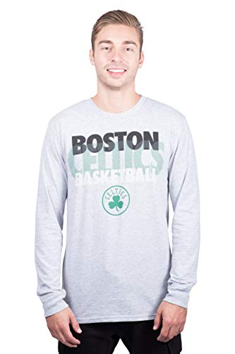 Ultra Game NBA Boston Celtics Men's Supreme Long Sleeve Pullover Tee Shirt, X-Large, Gray