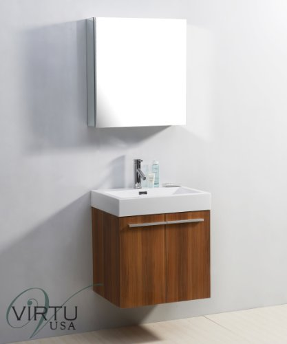 Virtu USA Midori 24 inch Single Sink Bathroom Vanity Set in Plum w/Integrated Square Sink, White Polymarble Countertop, Single Hole Polished Chrome, 1 Mirror - JS-50124-PL - Mirror: 19.8 in. W x 26.3 in. H x 4.9 in. D White Polymarble Countertop Plum cabinet finish - bathroom-vanities, bathroom-fixtures-hardware, bathroom - 31eAwVV4GYL -
