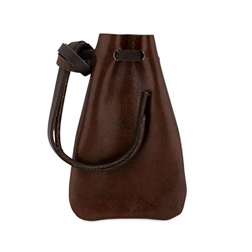 Small Leather Bag - Leather Drawstring Pouch, Coin Bag, Medicine Tobacco Pouch Medieval Reenactment Made in U.S.A. by Nabob Leather (Small Size 4 ¾