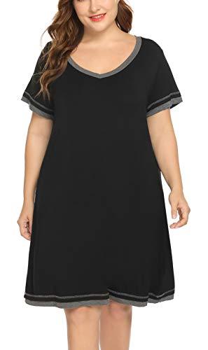 (IN'VOLAND Womens Plus Size Nightgown Loungewear Short Sleeve Nightshirt V Neck Knit Sleepwear Sleep Dress 16W-24W Black)