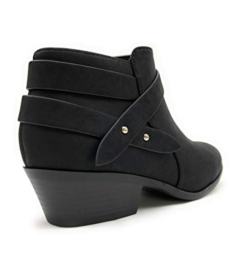 SODA Sweet Womens Criss Cross Strap Closed Toe Ankle Bootie