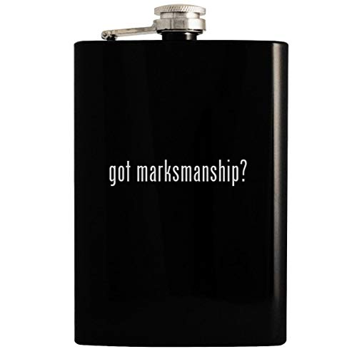 got marksmanship? - Black 8oz Hip Drinking Alcohol Flask (Nra Log Book)