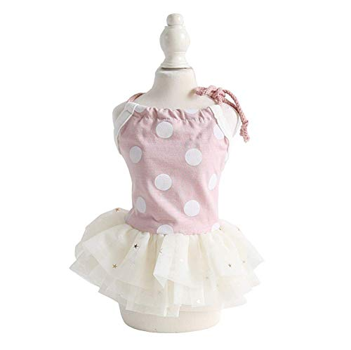 (Hdwk&Hped Small Dog Dress Puppy Cat Skirt Pet Spring Clothes 3 Styles #1-#5 (#3, Polka dot Style - Light Pink))