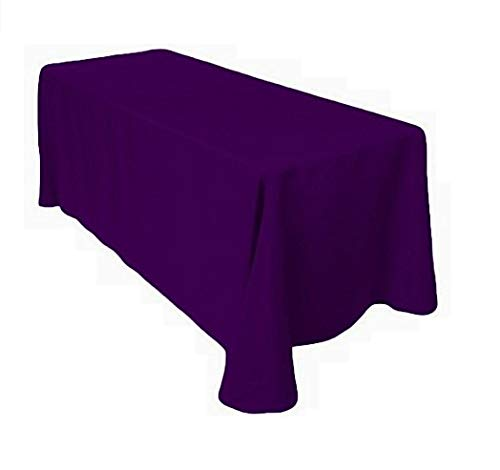 (Gee Di Moda Rectangle Tablecloth - 90 x 156 Inch - Purple Rectangular Table Cloth for 8 Foot Table in Washable Polyester - Great for Buffet Table, Parties, Holiday Dinner, Wedding & More)