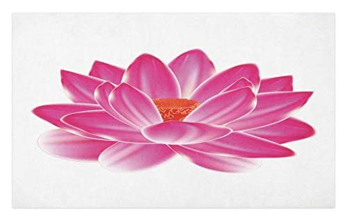 Lunarable Lotus Doormat, Vibrant Lotus Flower Pattern Spa Zen Yoga Asian Balance Energy Lifestyle Artsy Image, Decorative Polyester Floor Mat with Non-Skid Backing, 30 W X 18 L Inches, Magenta Red