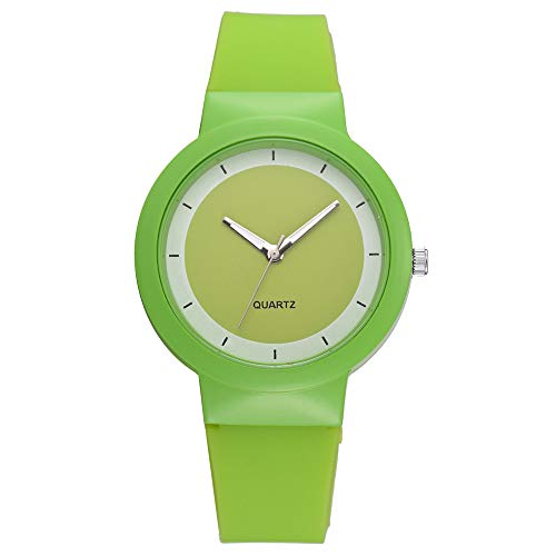 ❤SU&YU❤Fashion Silicone Strap Quartz Casual Luxury Women's Ladies WristWatches (Green)