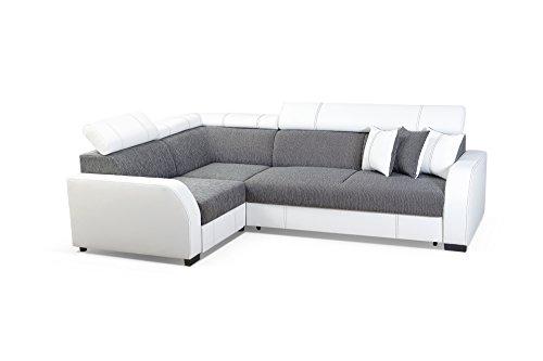 e07623fff21 MEUBLO Canapé d angle Convertibles 3 4 Places Tissu + Simili Cuir Houston (