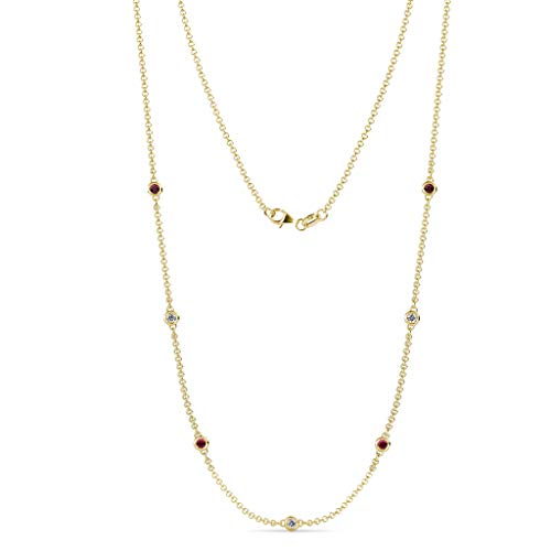 TriJewels 7 Stone Petite Ruby and Lab Grown Diamond Womens Station Necklace (VS2-SI1,G-H) 0.47 ctw 14K Yellow - Station Diamond Gold