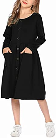 Arshiner Girl's Long Sleeve Button Up Casual Midi Dress with Pockets for 4-12 Y