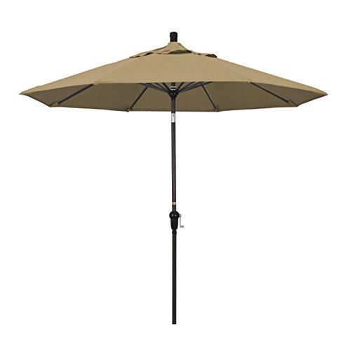 California Umbrella 9' Round Aluminum Market Umbrella, Crank Lift, Auto Tilt, Bronze Pole, Straw Olefin
