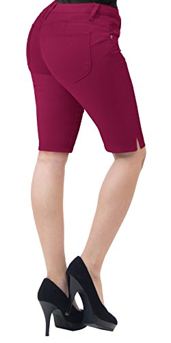 Super Short Shorts - Super Comfy Stretch Bermuda Shorts B43308 Wine 7