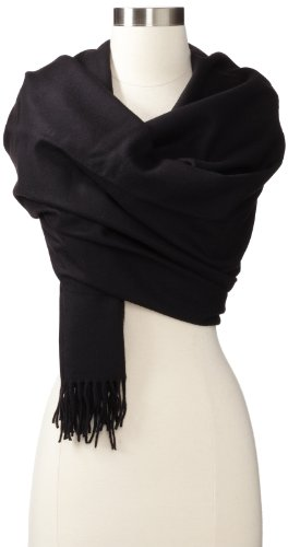Amicale Women's Solid 100% Cashmere Wrap