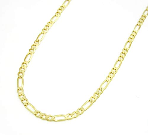 18K Yellow Gold 2.3mm Figaro Link Chain Bracelet - Made In Italy- Multiple Lengths Available ()