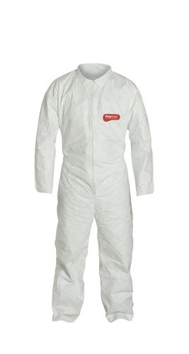 Liberty PolyGard SpunBonded Polypropylene Lightweight Zipper Front Coverall with Elastic Wrists and Ankles, 2X-Large, White (Case of 25)