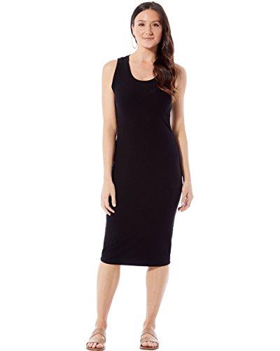 (Rohb by Joyce Azria Coastal Rib Knit Tank Top Midi Dress (Black) Size S)