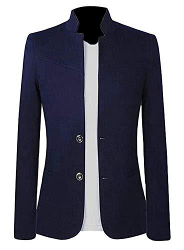 Men Two Button Mandarin Collar Casual Business Dress Blazer Jacket Suit Coat,US-L,NavyBlue