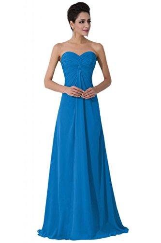 sunvary Sweetheart gasa Empire de la cintura largo vestidos de noche para novia Azul