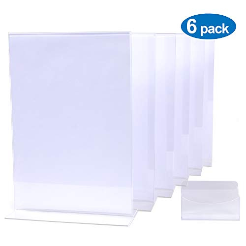 (OfficeAirDrop Acrylic Sign Holder 8.5 x 11 inch - Clear Display Stands (6 Set) + Business Card Holder.)