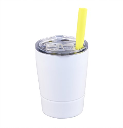 Colorful PoPo Kids Stainless Steel Cup Lovely Small Rambler Tumbler, Double Wall Vacuum Insulated Water Bottle with Lid and Silicone Straw, 8.5 OZ (1, White) ()