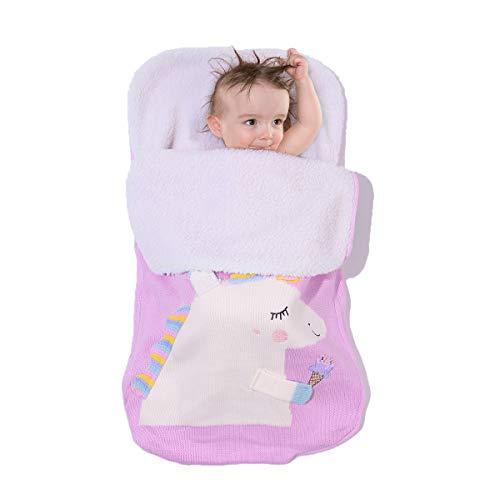 Zerich Unicorn 0-6 Month Newborn Baby Warm Wrap Swaddle Blanket Knit Sleeping Bag Sleep Sack Stroller Wrap Baby Sleeping Bag Stroller Foot Cover Pushchair Accessories#7806 (Light Pink)