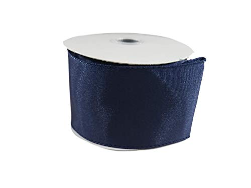 Spring Satin Wired Edge Ribbon for Wreaths, Crafts, Hair Bows - Solid Pastel Colors, 2.5 Inches by 25 Feet (Navy)