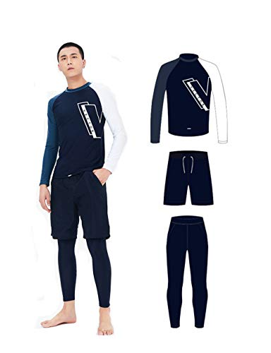 - VECTOR 3PCS Men's Wetsuit Long Sleeve Sunscreen Leisure Sports Ride Training Seaside Snorkeling Swimming Windproof Surf Quick Dry Diving Suit