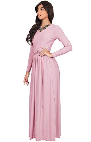 Koh Koh Petite Womens Long Sleeve Floor Full Length V Neck Ruched