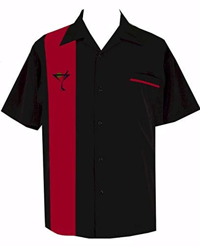 Mens Martini Embroidered Cuban Style Retro Lounge Camp Shirt ~ Red Hot Martini Bowling -
