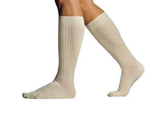 L.Martin Pima Cotton Over the Calf Dress Socks for Men 3Pairs Beige 8-11/M