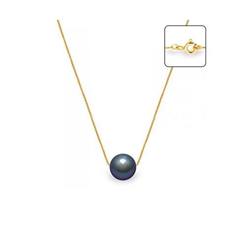 Collier Chaine Vénitienne Perle de Culture Noire et Or jaune 750/1000 -Blue Pearls-BPS 0253 W