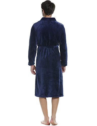 Vintage Da Sciarpa Lunga Cappotto In Navyblau Pile Accappatoio Manica Estate Primavera Notte Camicia Per Casa Loungewear Uomo Colletto q06xXqw7d
