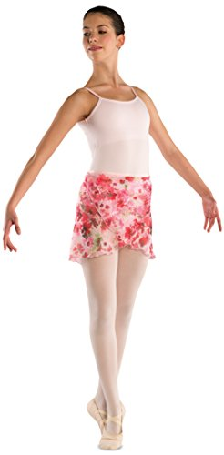 Women's Chiffon Floral Dance Skirt (Medium/Large - Ladies Bow Satin Circle