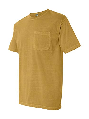 (Pigment-Dyed Short Sleeve Shirt with a Pocket, Color: Mustard, Size: X-Large)