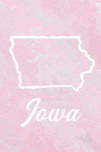 Iowa: Iowa Blank Lined Journal with a pink marble cover, perfect gift for ()