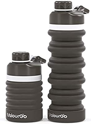 Botella de Silicona Plegable para ni/ños 500 ml, con mosquet/ón, a Prueba de Fugas, sin BPA, para Viajes, Deportes, Bebidas Fringoo