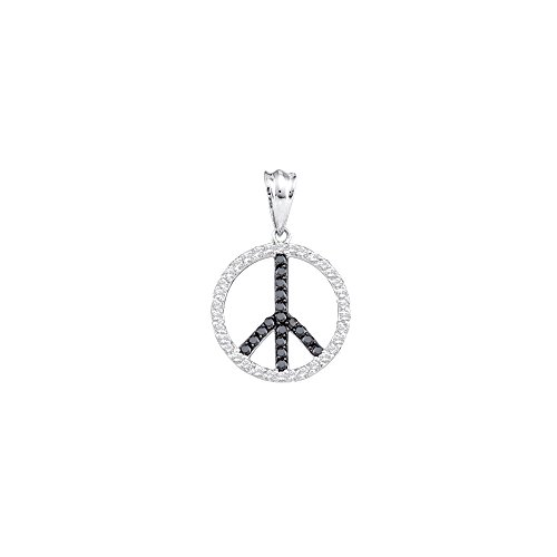 14kt White Gold Womens Round Black Colored Diamond Peace Sign Circle Pendant 3/4 Cttw (I2-I3 clarity; Black color)