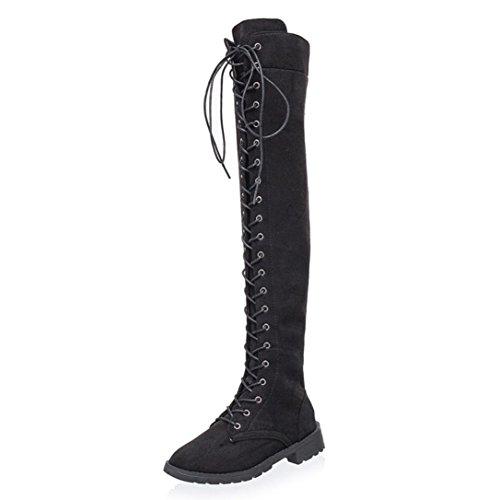 Kolylong Women Fashion Cross-Tied Platform Shoes High Boots Over The Knee Boots Flat Heel Boots Black