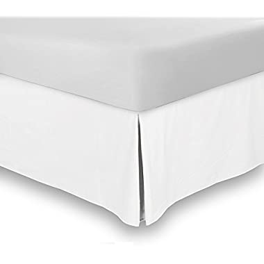 Bed Skirt (Queen, White, 15 Inch Fall) - Hotel Quality, Iron Easy, Quadruple Pleated , Wrinkle and Fade Resistant - by Utopia Bedding