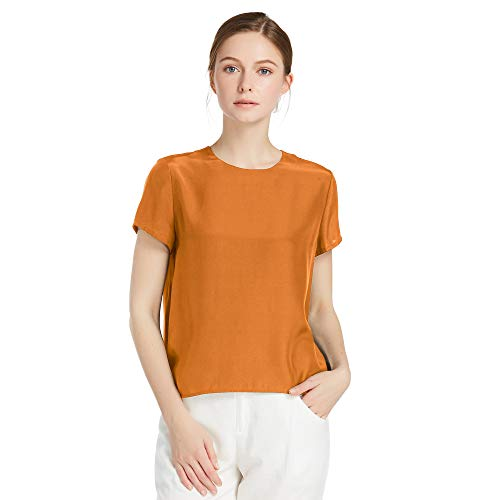 f6bc0357220b48 LilySilk Silk Blouses for Women Short Sleeve 100 Pure Mulberry 22 Momme Ladies  Silk Tops Button