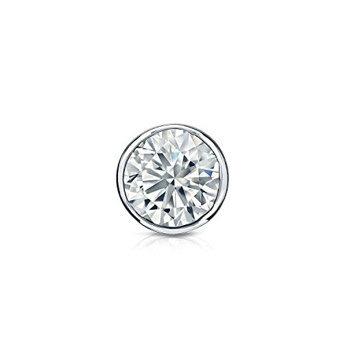 14k White Gold Bezel-set Round Diamond Men's SINGLE STUD Earring (3/8 ct, Good, I1-I2) ()