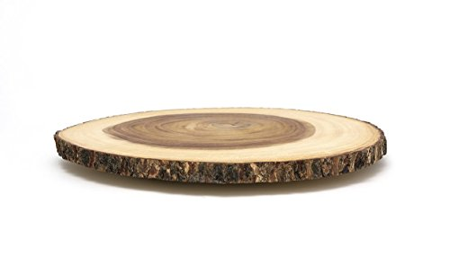 "Lipper International Acacia Wood 16"" Large Slab Lazy Susan with Bark Rim"
