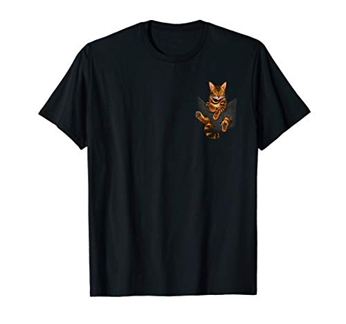 Funny Bengal Cat In Pocket Cute Kitty Lover T-Shirt Gifts