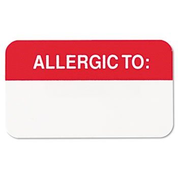 Tabbies Medical Labels for Allergies, 7/8 x 1-1/2 Inches, White, 250/Roll (TAB01000)