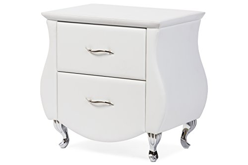 Erin Leather (Baxton Studio Erin Modern & Contemporary Faux Leather Upholstered Nightstand, Medium, White)