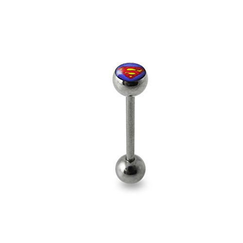 Purple Logo Tongue Ring. 14Gx9/16(1.6x14mm) 316L Surgical Steel Barbell with 6/6mm Ball Tongue Piericng jewelry. Price per 1 Piece only.