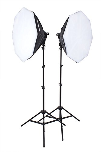 StudioPRO Double 4200W Continuous Output Lighting for Portrait Photography, Photo & Video Shoots - Includes (2) 5 Socket Light Head & Stand, (2) 32'' Octagon Softbox & (10) 85W CFL Light Bulb by Fovitec