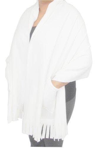 Polar Fleece Fringed Shawl / Wrap / Shoulder Cozy with Pockets. 78 x 27